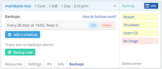 Screenshot of backup prototype